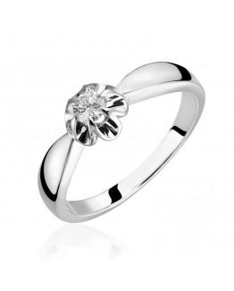 Pierścionek zaręczynowy z brylantem  Białe złoto