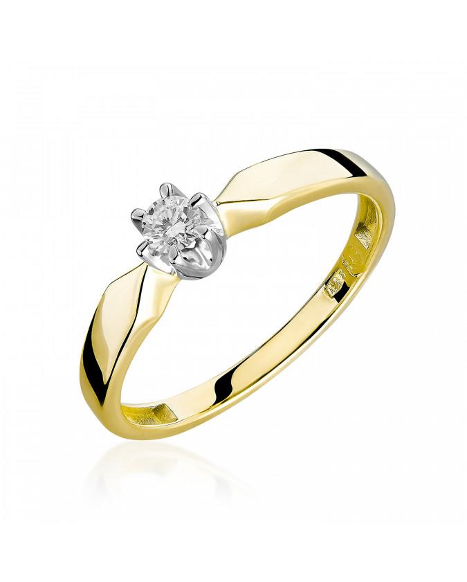Klasyczny Pierścionek Zaręczynowy Z Brylantem 0,10 ct 5850040