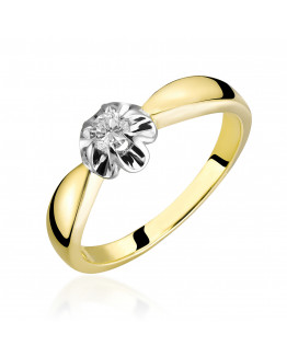 Pierścionek zaręczynowy z brylantem 0,15 ct